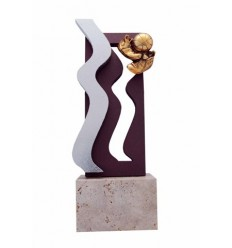 Trofeo resina diseño negro ondas