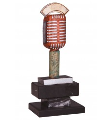 Trofeo resina microfono antiguo