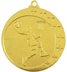 MEDALLA 50MM BALONCESTO ORO