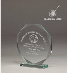 TROFEO CRISTAL OCTOGONAL GROSOR 10MM