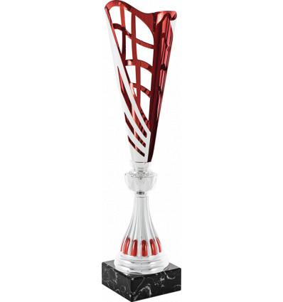 Copa clásica plateada y roja diseño moderno