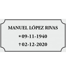 Placa Buzon plata/negra 8*4cm